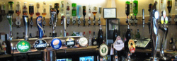 A well stocked bar with Cask Ales